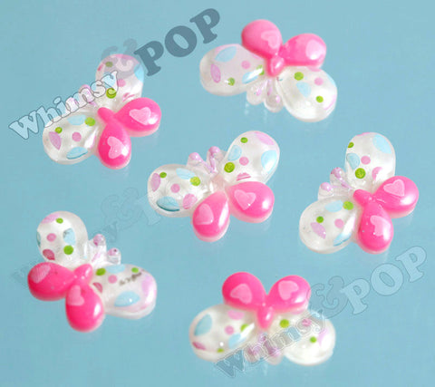 Pink and White Speckled Butterfly Cabochons