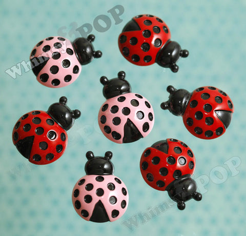 Pink and Red Speckled Ladybug Cabochons - WhimsyandPOP