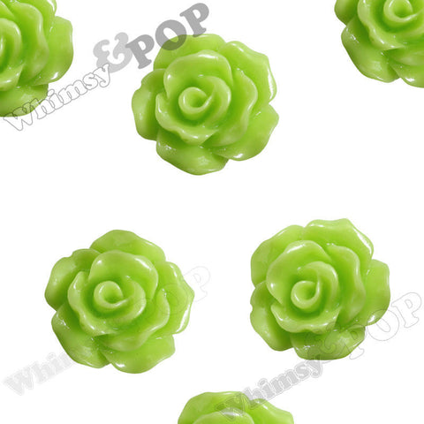 LIME GREEN 10mm Small Detailed Flower Cabochons