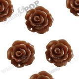 BROWN 10mm Small Detailed Flower Cabochons - WhimsyandPOP
