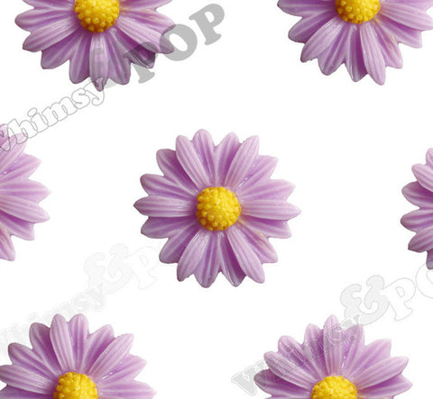 PURPLE 22mm Gerber Daisy Flower Cabochons