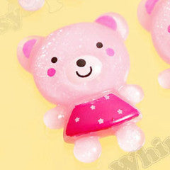 Girly Dress Pink Teddy Bear Cabochons - WhimsyandPOP