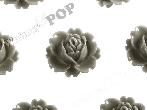 GRAY 18mm Peony Flower Cabochons - WhimsyandPOP