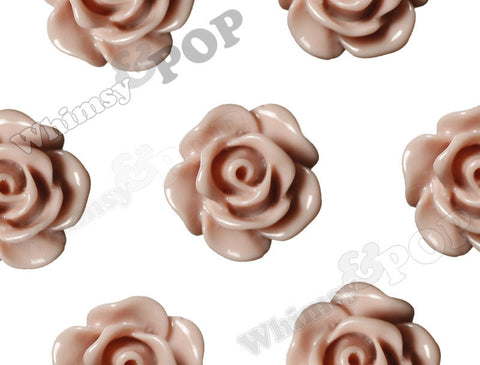 DUSTY MAUVE 10mm Small Detailed Flower Cabochons - WhimsyandPOP