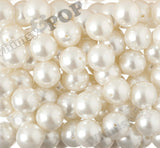 IVORY 20mm Metallic Pearl Gumball Beads - WhimsyandPOP