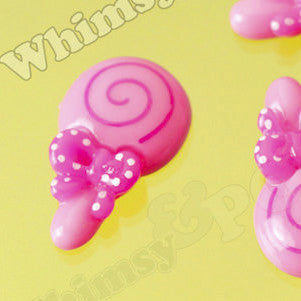 Pink Candy Bow Lollipop Cabochons