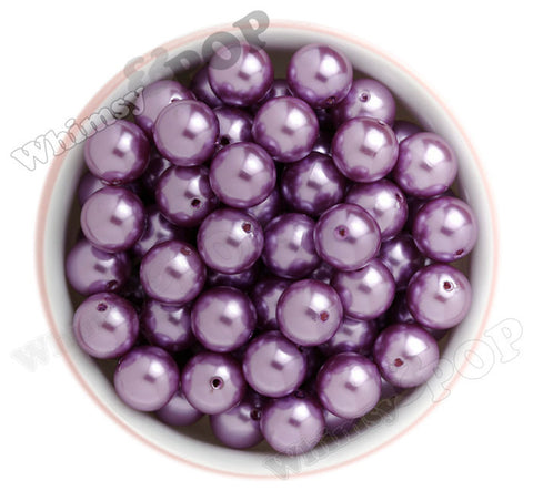 LILAC PURPLE 16mm Metallic Pearl Gumball Beads