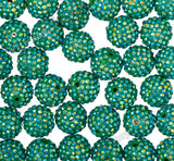 EMERALD GREEN 20mm Crystal AB Rhinestone Gumball Beads - WhimsyandPOP