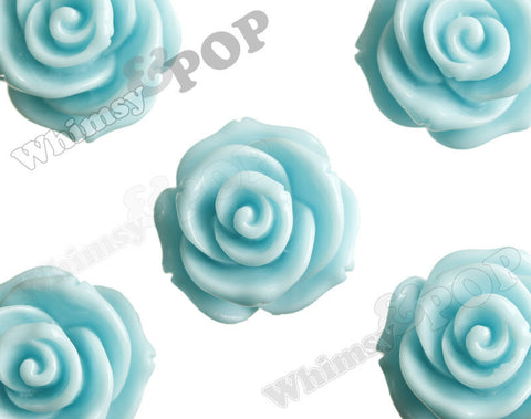 AQUA BLUE 23mm Rose Bud Flower Beads - WhimsyandPOP