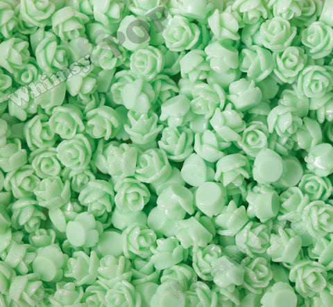 SEAFOAM GREEN 7mm Teeny Tiny Flower Cabochons - WhimsyandPOP