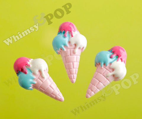Triple Scoop Ice Cream Cone Cabochons - WhimsyandPOP