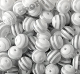 WHITE 20mm Striped Gumball Beads - WhimsyandPOP