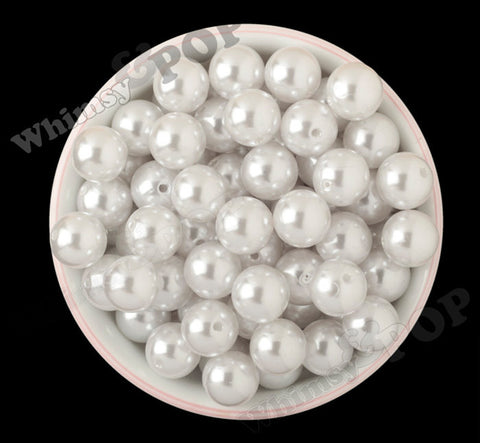 WHITE 16mm Metallic Pearl Gumball Beads - WhimsyandPOP