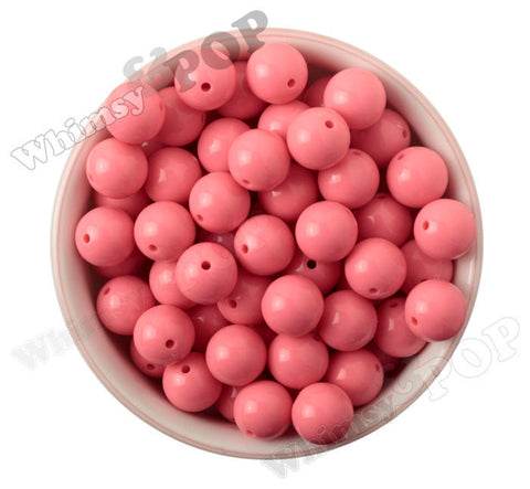 FLAMINGO PINK 16mm Solid Gumball Beads - WhimsyandPOP