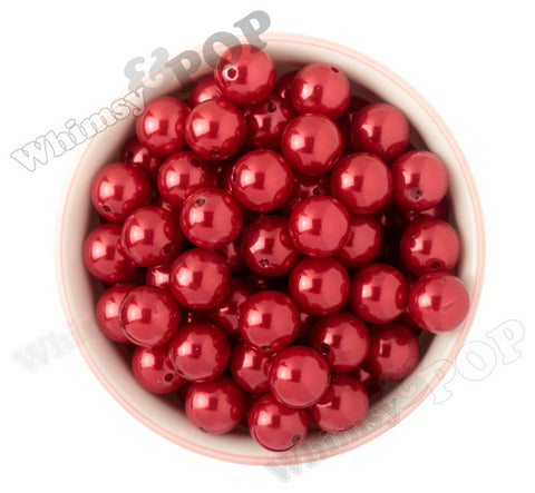 RED 16mm Metallic Pearl Gumball Beads - WhimsyandPOP