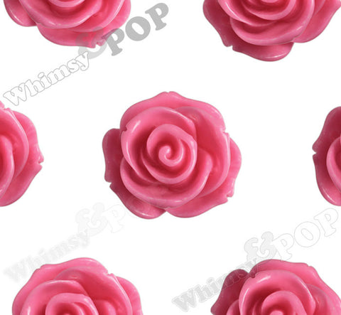 HOT PINK 23mm Rose Bud Flower Beads - WhimsyandPOP