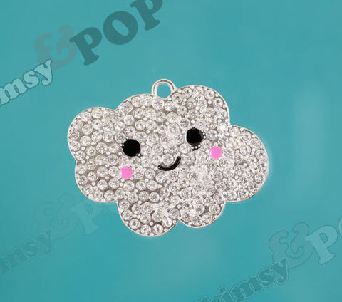 Chunky Rhinestone Happy Cloud Pendant - WhimsyandPOP
