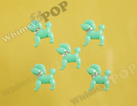 Mint Green Poodle Cabochons