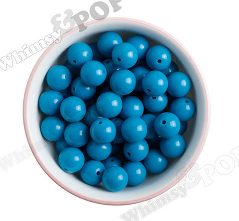 OCEAN BLUE 16mm Solid Gumball Beads - WhimsyandPOP