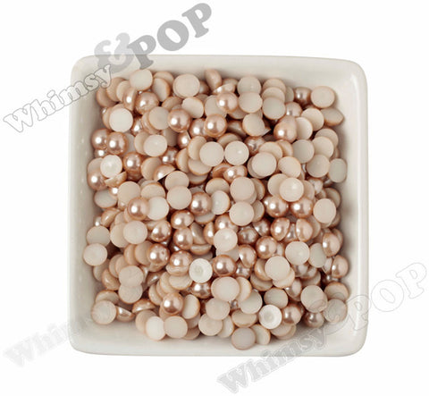 CHAMPAGNE 8mm Flatback Pearl Cabochons - WhimsyandPOP
