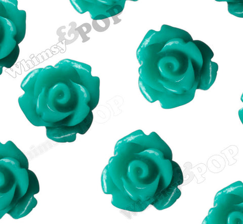 TEAL GREEN 10mm Rose Flower Cabochons - WhimsyandPOP