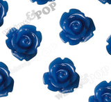 ROYAL BLUE 10mm Rose Flower Cabochons - WhimsyandPOP