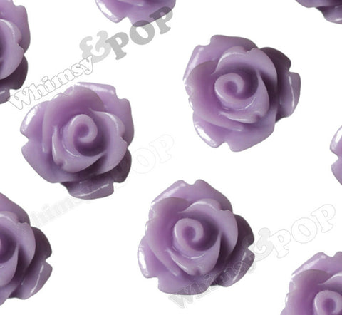 LAVENDER PURPLE 10mm Rose Flower Cabochons - WhimsyandPOP