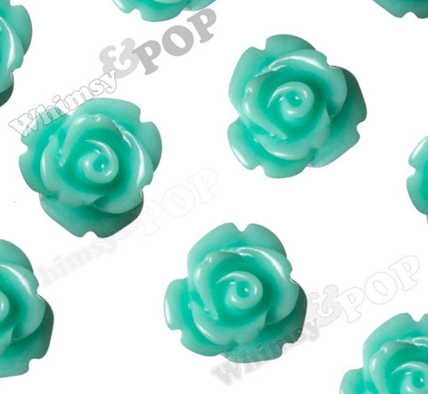 AQUA GREEN 10mm Rose Flower Cabochons - WhimsyandPOP