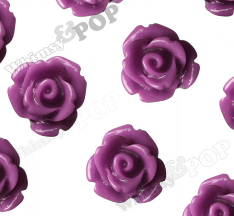 PLUM PURPLE 10mm Rose Flower Cabochons - WhimsyandPOP