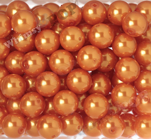 ORANGE 20mm Metallic Pearl Gumball Beads - WhimsyandPOP