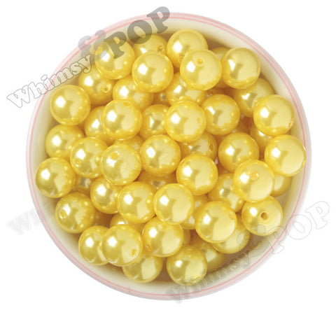 YELLOW 16mm Metallic Pearl Gumball Beads - WhimsyandPOP