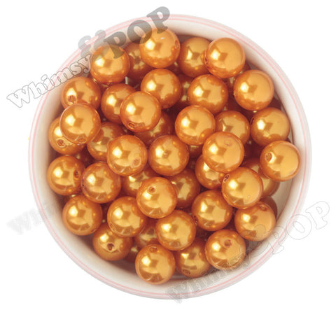 ORANGE 16mm Metallic Pearl Gumball Beads - WhimsyandPOP