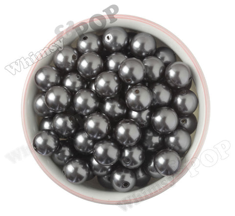GRAY 16mm Metallic Pearl Gumball Beads - WhimsyandPOP