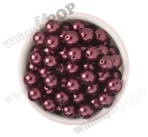 CRIMSON RED 16mm Metallic Pearl Gumball Beads - WhimsyandPOP