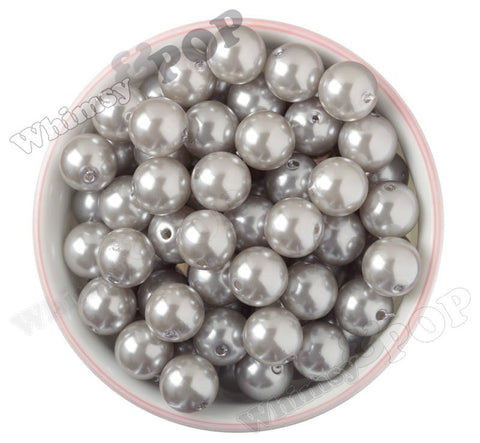 SILVER 16mm Metallic Pearl Gumball Beads - WhimsyandPOP