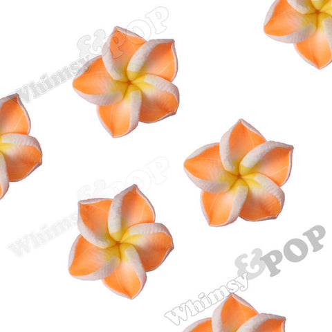 ORANGE 15mm Plumeria Flower Beads