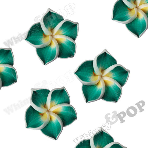GREEN 15mm Plumeria Flower Beads - WhimsyandPOP