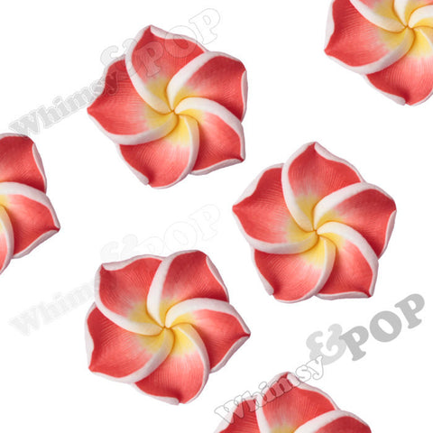 RED 15mm Plumeria Flower Beads - WhimsyandPOP