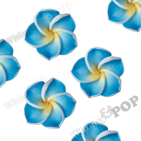 SKY BLUE 15mm Plumeria Flower Beads