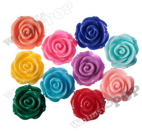 MIXED Color 23mm Rose Bud Flower Beads