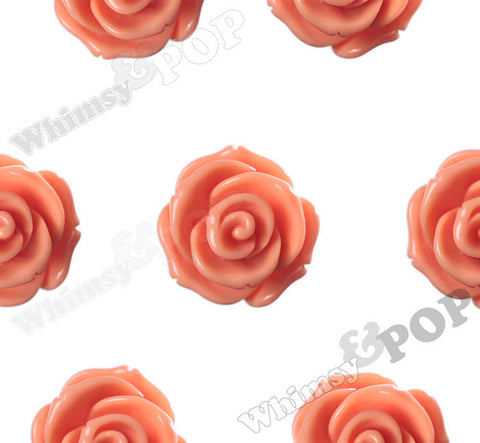 ORANGE 23mm Rose Bud Flower Beads