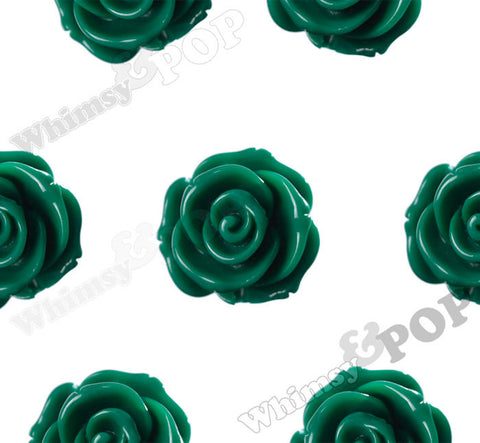 GREEN 23mm Rose Bud Flower Beads - WhimsyandPOP