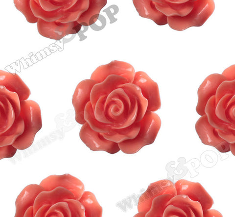 CORAL ORANGE 20mm Large Detailed Flower Cabochons - WhimsyandPOP