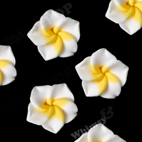 WHITE 15mm Plumeria Flower Beads - WhimsyandPOP