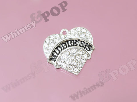 Middle Sister Rhinestone Heart Charm - WhimsyandPOP