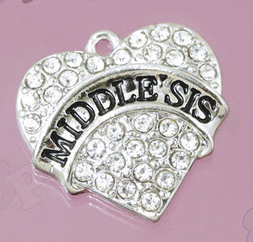 Middle Sister Rhinestone Heart Charm