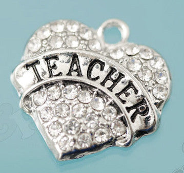 Teacher Rhinestone Heart Charm - WhimsyandPOP