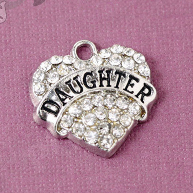 Daughter Rhinestone Heart Charm - WhimsyandPOP