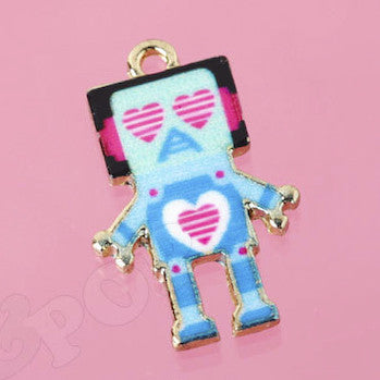 Blue and Pink Lovesick Robot Charm - WhimsyandPOP