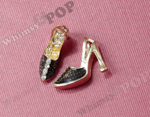 Black High Heel Shoe Charm With Rhinestones - WhimsyandPOP